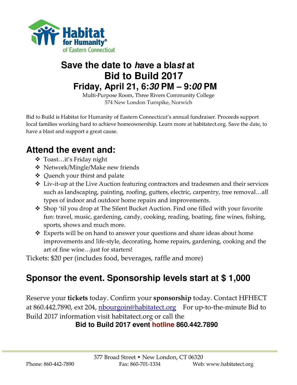 SAVE THE DATE - Bid to Build 2017